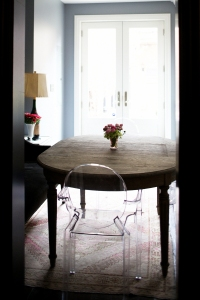 dining room, lucite chairs