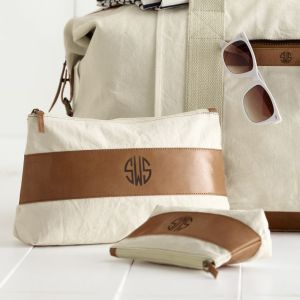 canvas and leather cosmetic bags