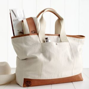 canvas with leather tote